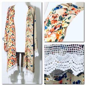 Floral Print Lace Shawl kimono Long